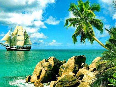 tropical-landscape-boat-palm-trees-sea-rock-2K-wallpaper-middle-size